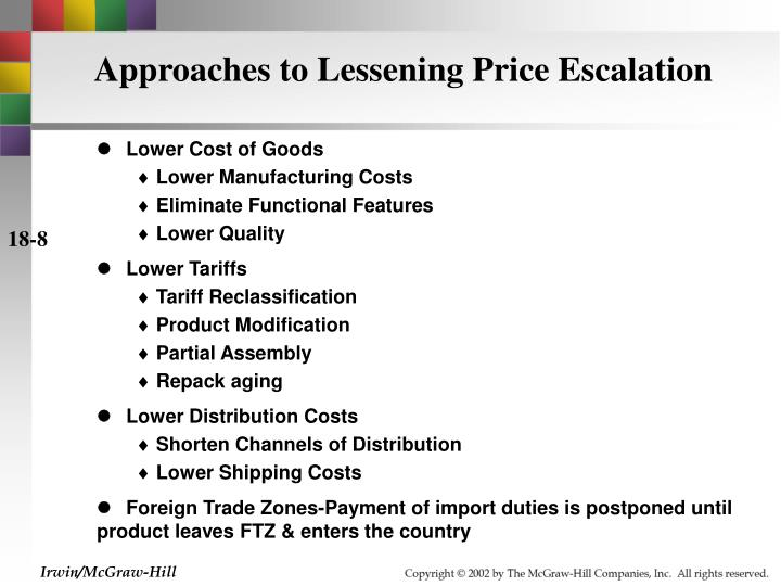 Approaches to Lessening Price Escalation