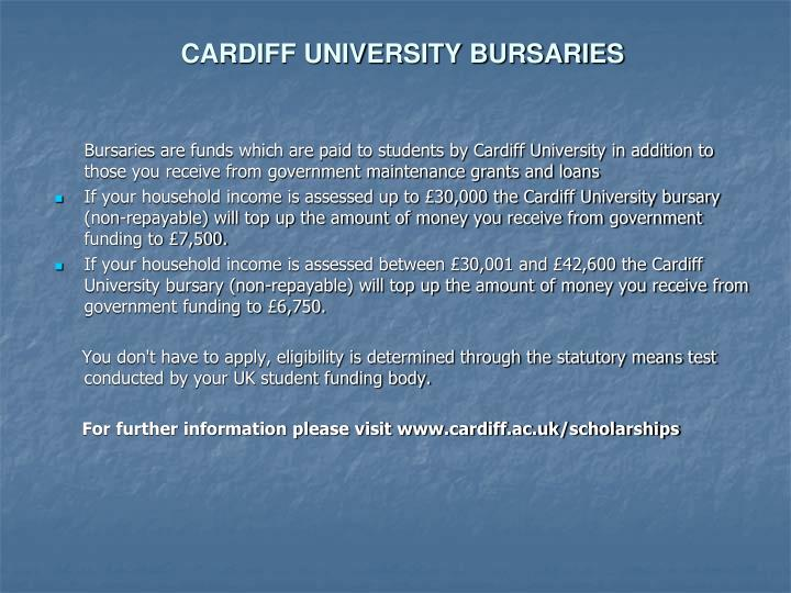 CARDIFF UNIVERSITY BURSARIES