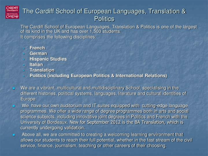 The Cardiff School of European Languages, Translation & Politics