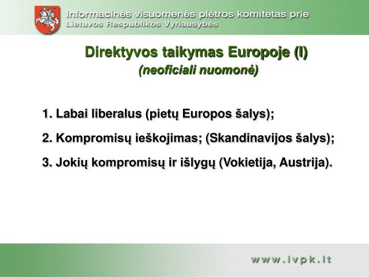 Direktyvos taikymas Europoje (I)