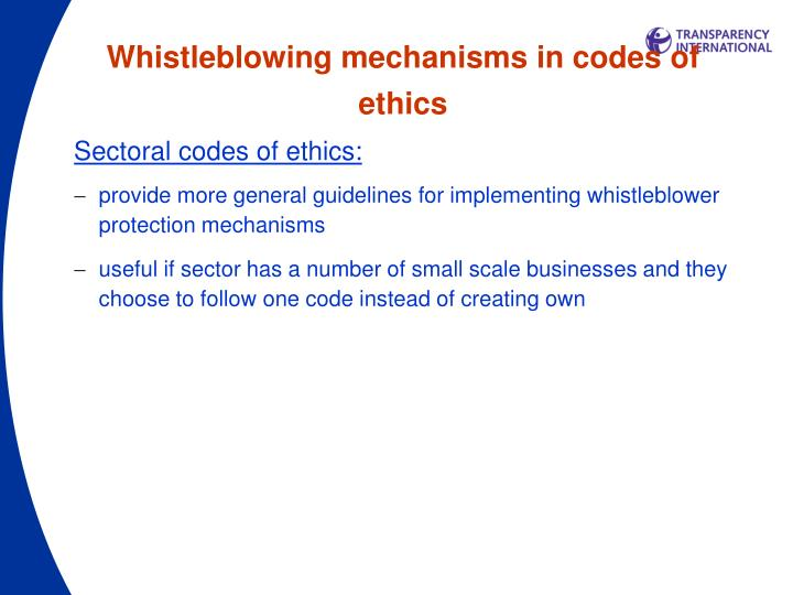 Whistleblowing mechanisms in codes of ethics
