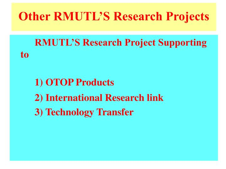 Other RMUTL'S Research Projects