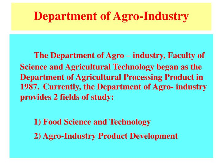 Department of Agro-Industry