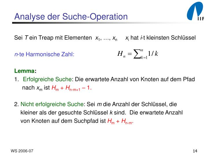 Analyse der Suche-Operation