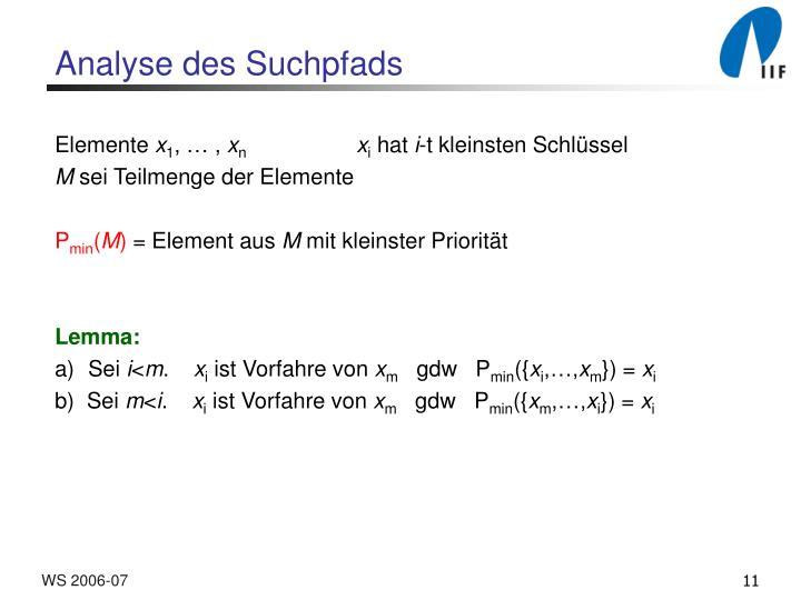 Analyse des Suchpfads