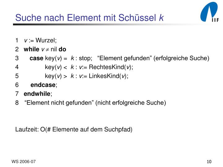 Suche nach Element mit Sch