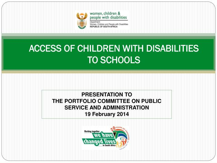 Access of children with disabilities to schools