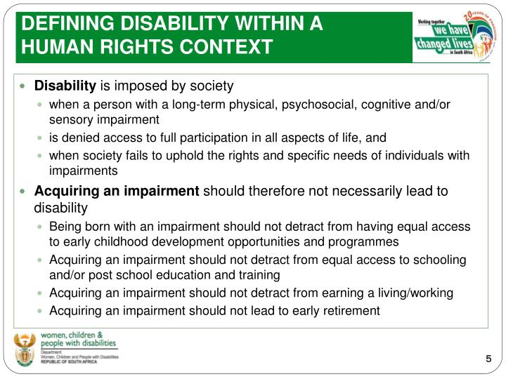 DEFINING DISABILITY WITHIN A