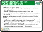 defining disability within a human rights context