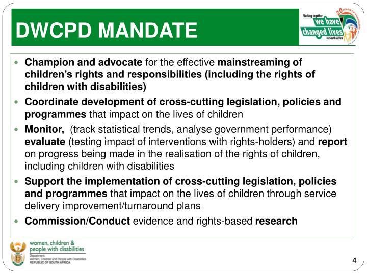 DWCPD MANDATE