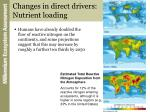 changes in direct drivers nutrient loading