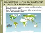 some ecosystem recovery now underway but high rates of conversion continue
