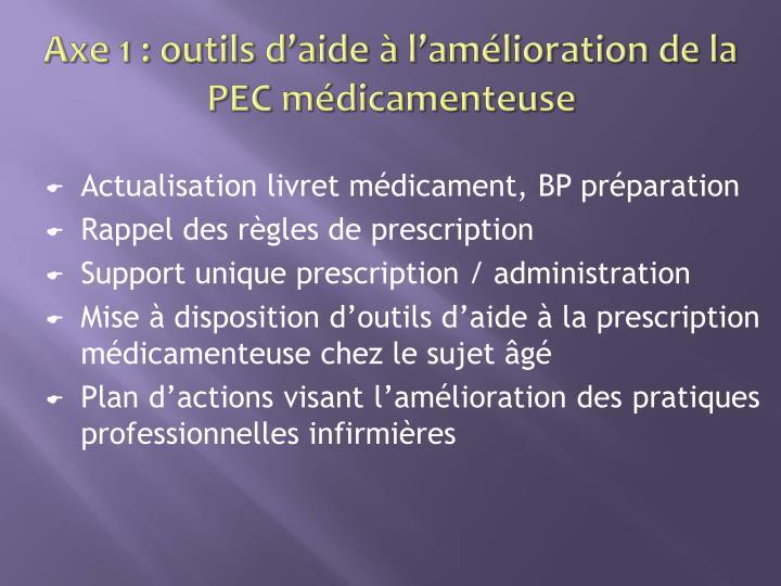 Axe 1 : outils d'aide à l'amélioration de la PEC médicamenteuse