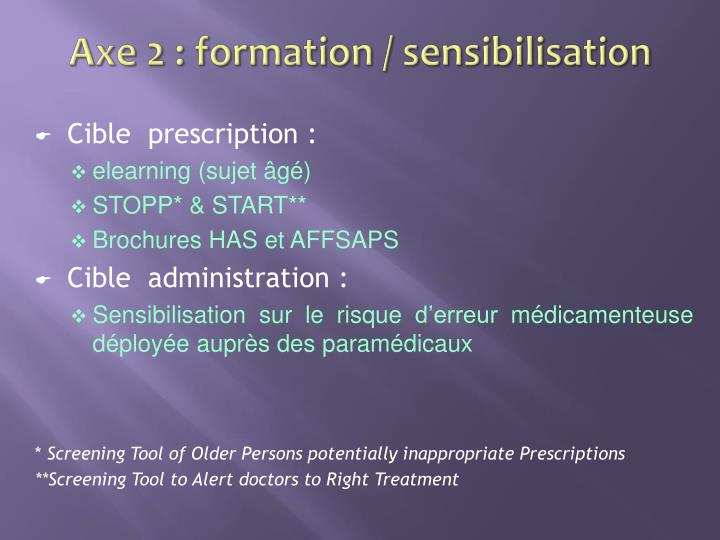 Axe 2 : formation / sensibilisation