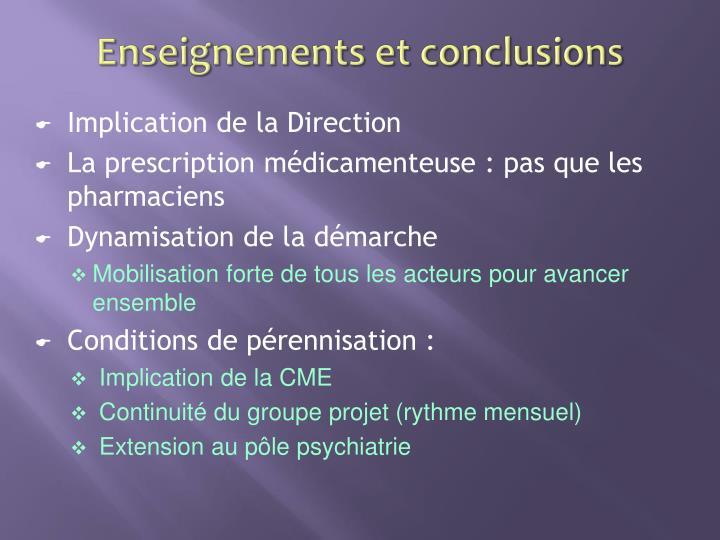 Enseignements et conclusions