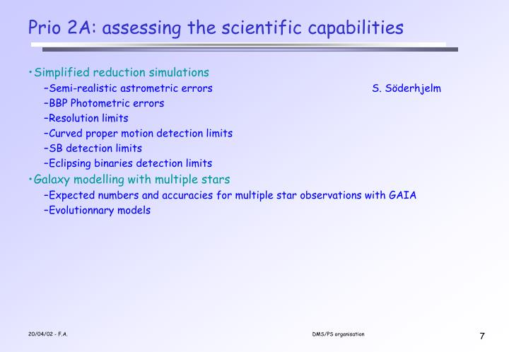Prio 2A: assessing the scientific capabilities