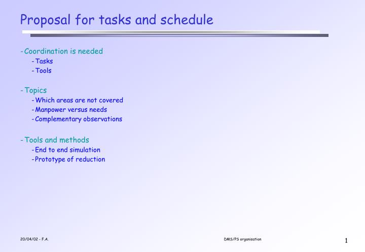 proposal for tasks and schedule