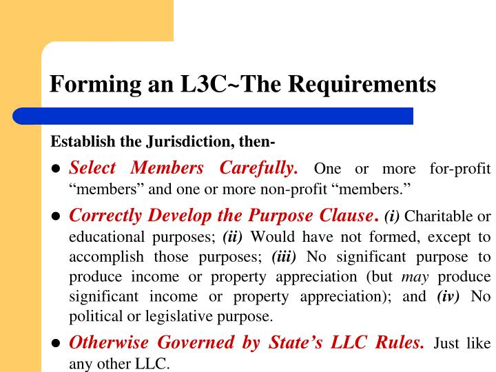 Forming an L3C~The Requirements