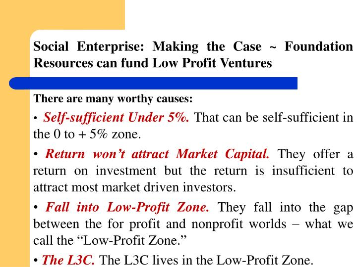 Social Enterprise: Making the Case ~ Foundation Resources can fund Low Profit Ventures