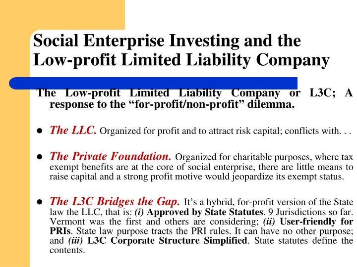 Social Enterprise Investing and the Low-profit Limited Liability Company