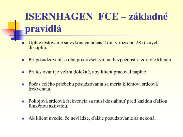 ISERNHAGEN  FCE – základné pravidlá