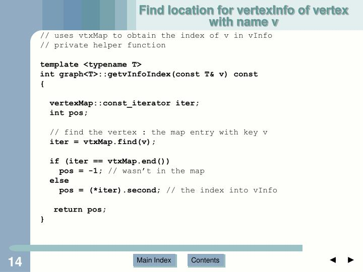 Find location for vertexInfo of vertex with name v