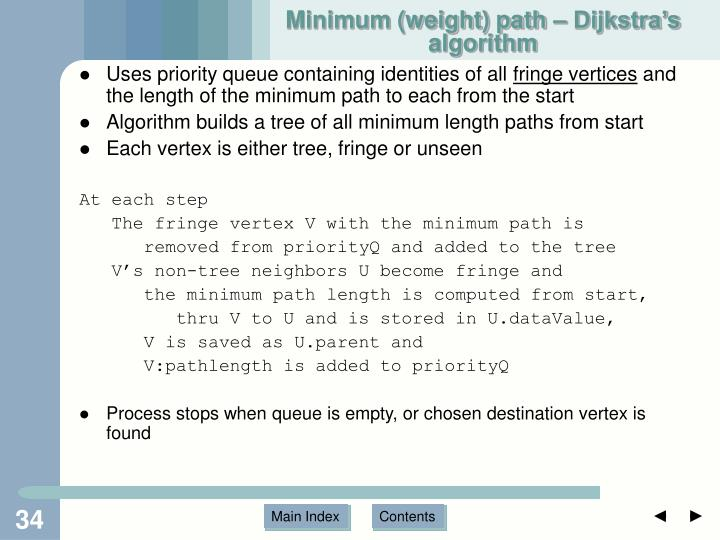 Minimum (weight) path – Dijkstra's algorithm