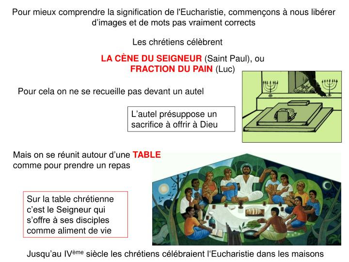 Pour mieux comprendre la signification de l'Eucharistie, commençons à nous libérer d'images et de mots pas vraiment corrects