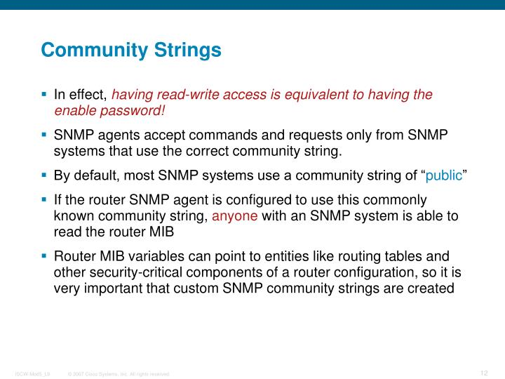 Community Strings