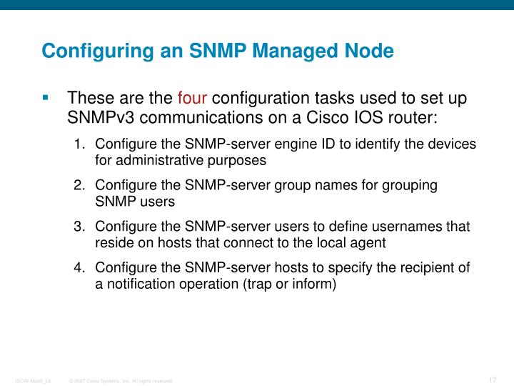 Configuring an SNMP Managed Node