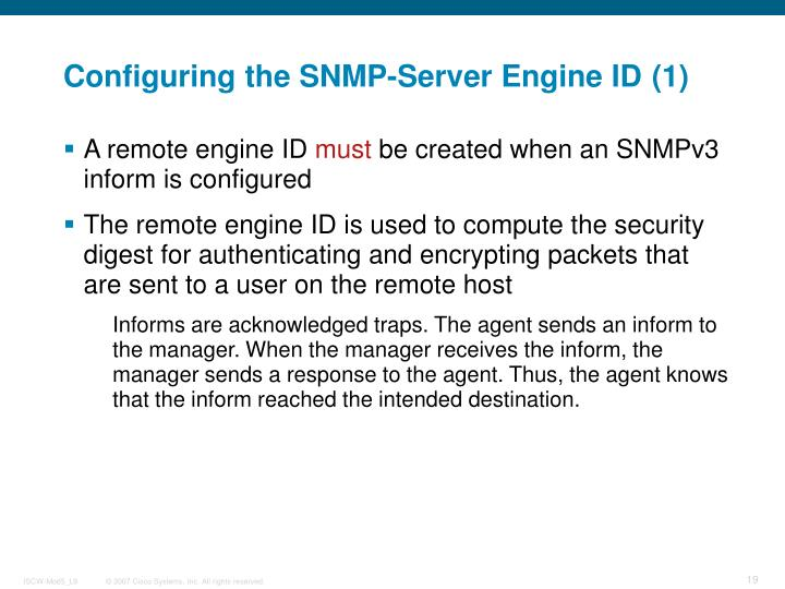 Configuring the SNMP-Server Engine ID