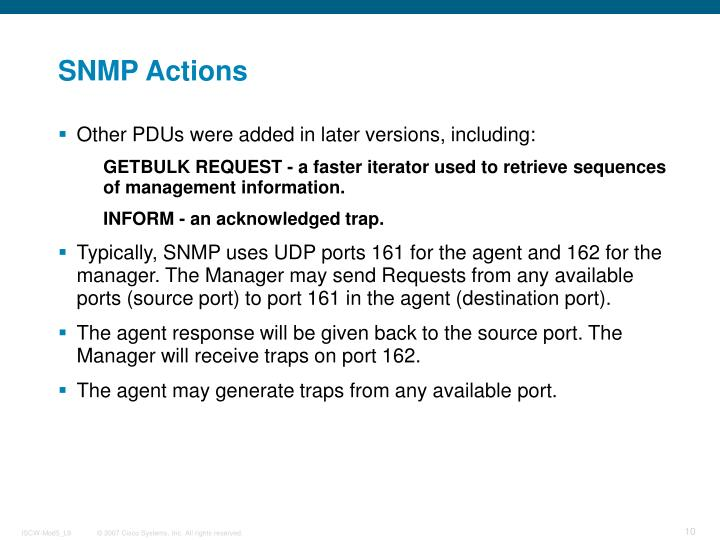 SNMP Actions