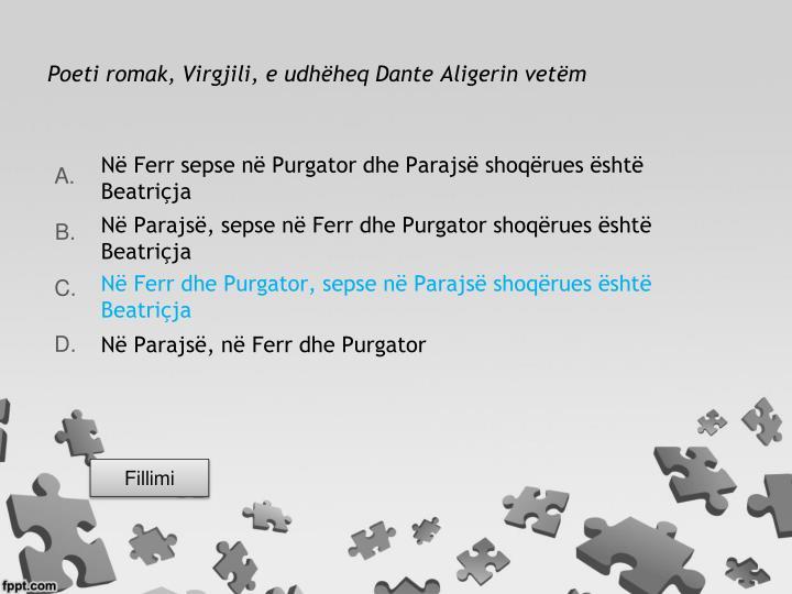 Poeti romak, Virgjili, e udhëheq Dante Aligerin vetëm
