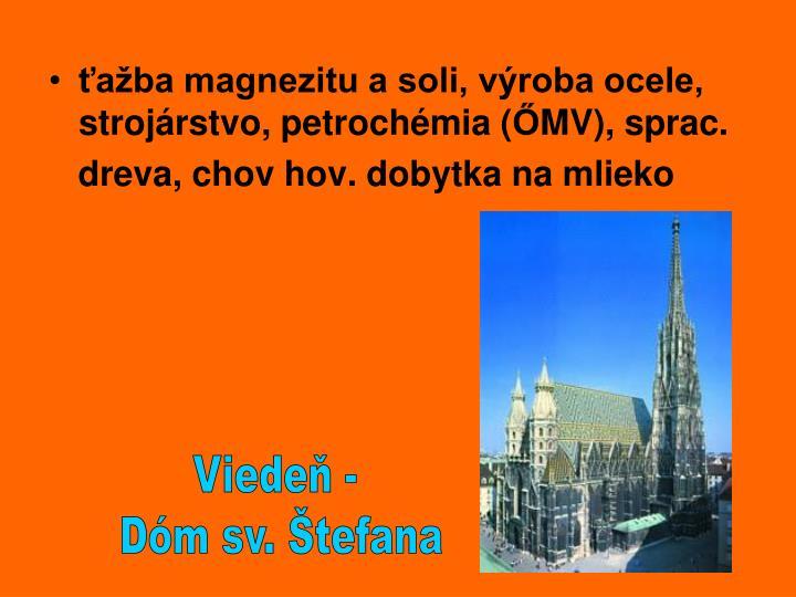 ťažba magnezitu a soli, výroba ocele, strojárstvo, petrochémia (
