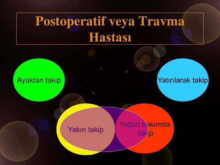 Postoperatif veya Travma Hastası