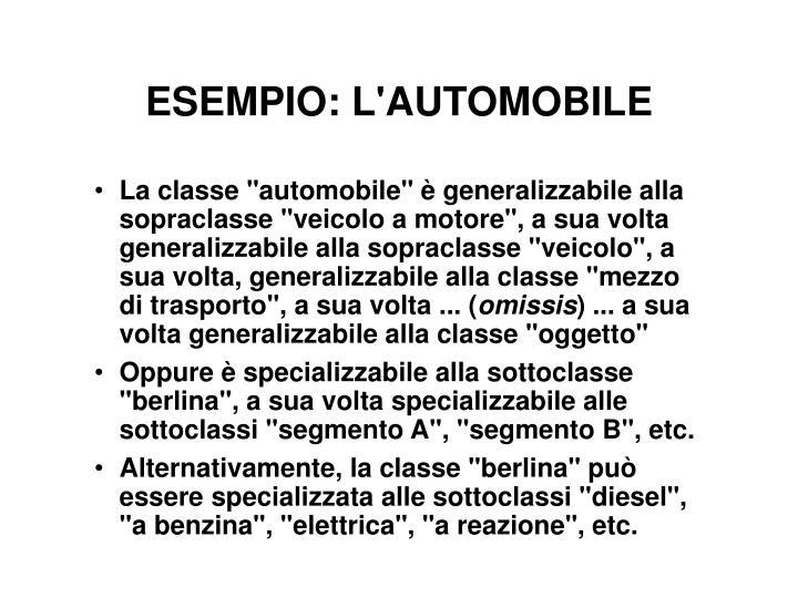 ESEMPIO: L'AUTOMOBILE