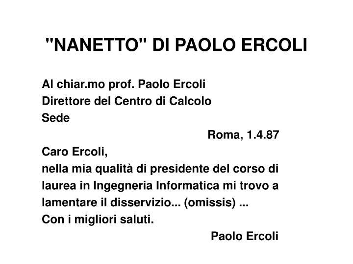 """""""NANETTO"""" DI PAOLO ERCOLI"""