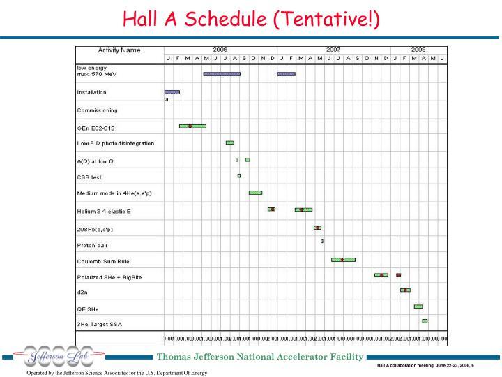Hall A Schedule (Tentative!)