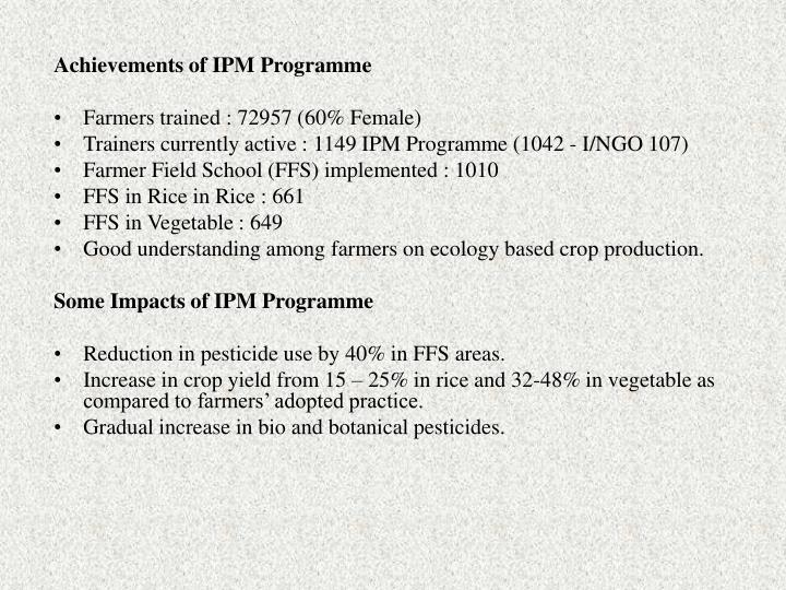 Achievements of IPM Programme