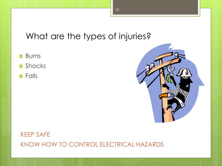 What are the types of injuries?
