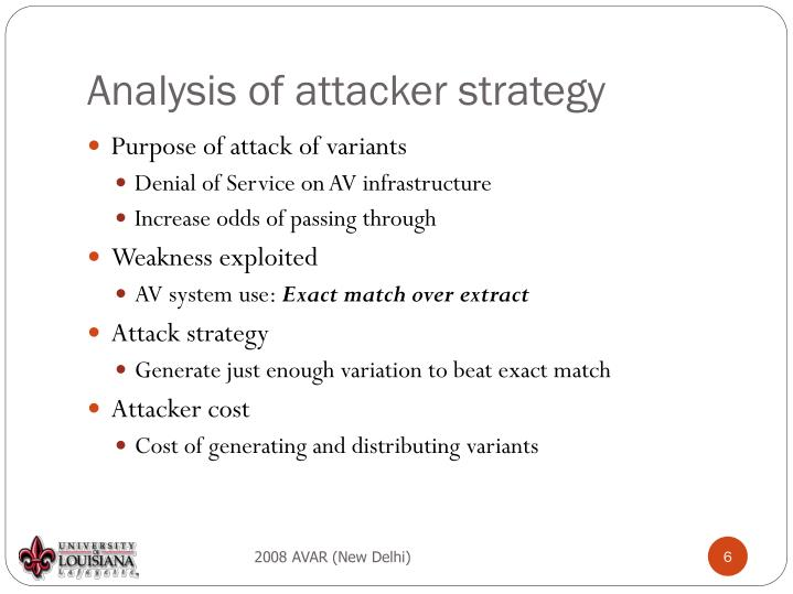 Analysis of attacker strategy