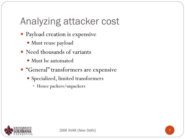 Analyzing attacker cost