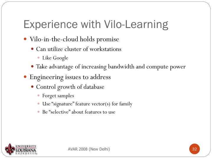 Experience with Vilo-Learning