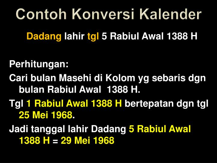 Contoh Konversi Kalender