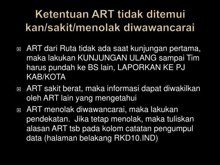 Ketentuan ART tidak ditemui