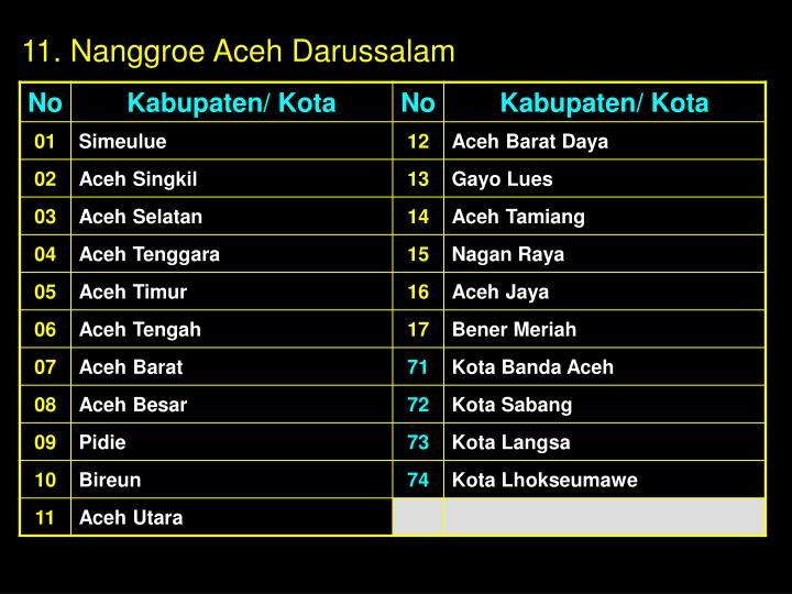 11. Nanggroe Aceh Darussalam