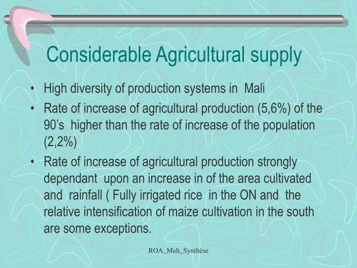 Considerable Agricultural supply