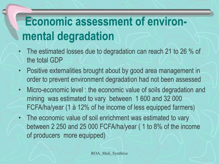 Economic assessment of environ-mental degradation