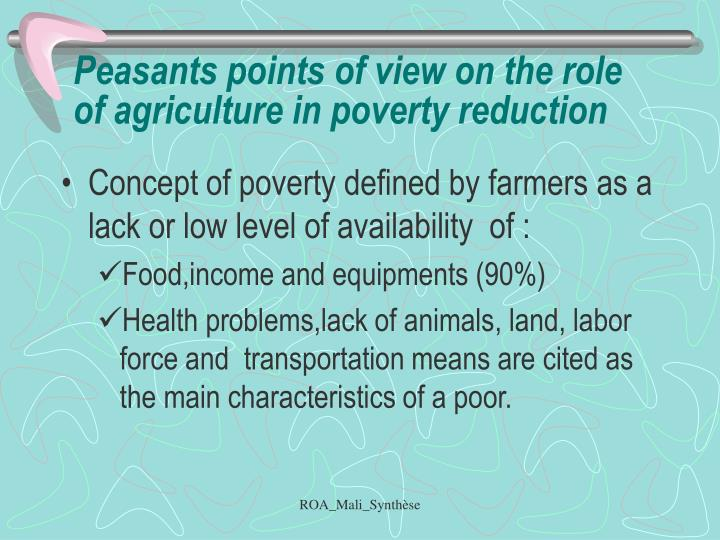 Peasants points of view on the role of agriculture in poverty reduction