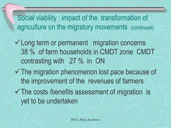 Social viability : impact of the  transformation of  agriculture on the migratory movements